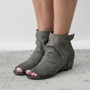 MARSELL DISTRESSED GREY DEER HIDE PEEP TOE BOOTIES